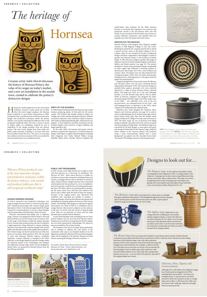 Ceramic Review May / June 2019 by Adele Howitt collecting / Hornsea Pottery / Potter About Hornsea Art Trail